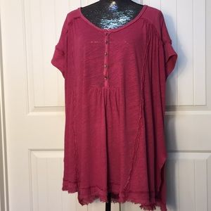 Free People Pink High-Low Top Size Large